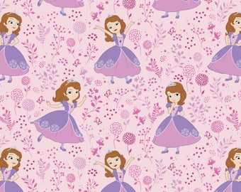 Meadow in Light Pink - Sofia the First by Camelot Design Studio from Camelot Fabrics - Sofia the First Fabrics - Disney Fabrics
