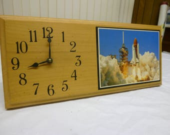 Space Shuttle Clock, Wooden with Image, Handmade, NASA Collectible