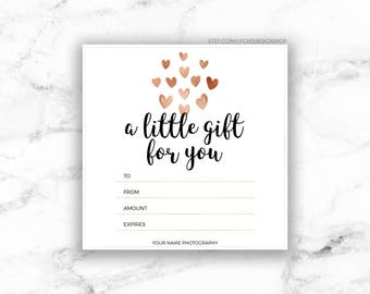Gift certificate etsy printable rose gold hearts gift certificate template editable photography studio gift card design photoshop template yadclub Image collections