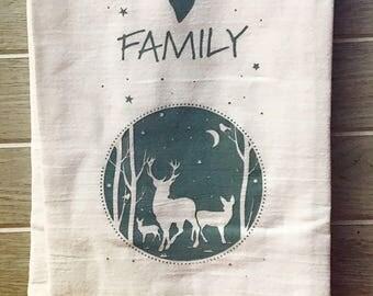 Family Silk Screen Kitchen Flour Sack Towel