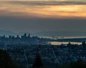 Burnaby Mountain, Vancouver, Canada, Burnaby, Sunset, dusk, landscape, cityscape