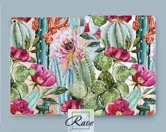 Succulents Cactus plants Blossom Watercolor flowers iPad 9 7 sleeve iPad smart cover iPad air 2 cover iPad mini 4 case iPad stand Mini iPad