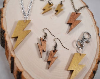 Harry Potter Lightning Bolt Wood Cut Pendant - HARRY POTTER, J.K. Rowling fans! Necklace, Keychain, Earrings!