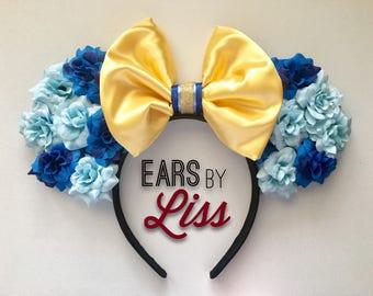 Alpha Xi Delta Minnie Mouse Ears. Axid Disney Ears, Sorority Disney ears, greek minnie ears, fraternity, Mickey Mouse, Floral Minnie ears