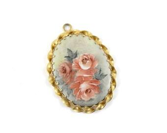 Old world pendant, pendant, costume jewellery, vintage jewellery, vintage pendant, painted flower pendant, victorian style pendant.