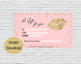 Gold, Glitter, Pink, Blush, LipSense Gift Certificate, LipSense Distributor, SeneGence, Gift Certificate, Marketing, Branding, Printable