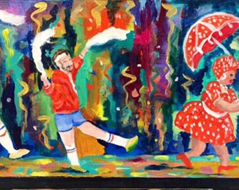 "610 Stompers,painting,new orleans, art,original,painting,acrylic,wall,10""x20"",nola,french quarter art, french quarter,nola"