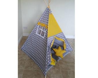 Grey Sunshine teepee tent, play tent,handmade kids teepee tent, nursery, playtime, big teepee tent, polka dots teepee, childrens teepee tent