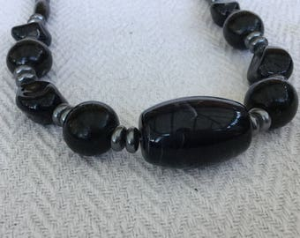 Marbled Black And Grey Plastic Bead Necklace