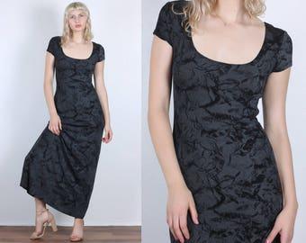 90s Crushed Velvet Maxi Dress // Vintage Black Printed Bodycon - Medium to Large