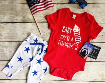 4th of july baby, baby you're a firework, 4th of july outfit, bodysuit, patriotic, fourth of july, firework, america, american, usa, merica