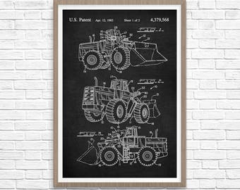Loader Tractor Patent Print, Tractor Print, Tractor Patent, Loader Blueprint, Loader Tractor Decor, Loader Tractor Wall Art, Loader Poster