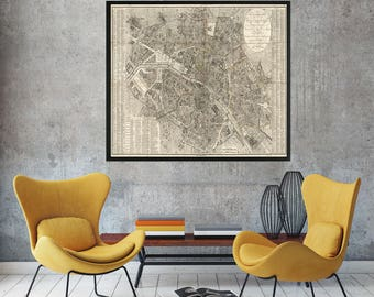 Paris Map, 1823, Old Map of Paris, Map of Paris, Paris Old Map, Old Paris Map, Vintage Paris Map, Paris Map Print, Vintage Map of Paris