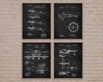 Aviation Art Set of 4, Nursery Decor, Nursery Art, Airplane Decor, Airplane Art, Airplane Print, Airplane Blueprint, Boy Room Decor