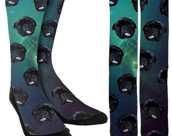Pugs in Space Crew Socks - Socks with Pugs - Funny Sock -Crazy Socks-Unique Socks-Novelty Socks-Cool Socks- 100% Comfort - FREE Shipping C04