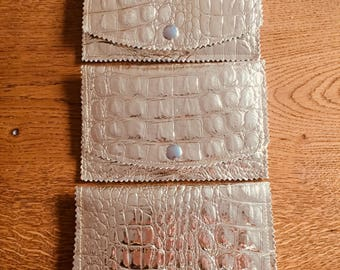 Gold cover shiny faux leather crocodile look