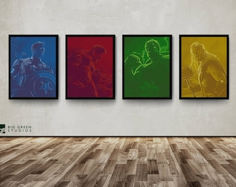 The Avengers Posters, Captain America, The Hulk, Iron Man, Thor, Wall Art, Decor, Posters