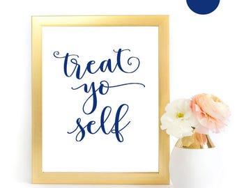 Treat Yo Self Sign, Navy Treat Yo Self, Navy Wedding Sign, Wedding Printable, Dessert Bar Sign, Dessert Table Sign, Dessert Wedding Sign