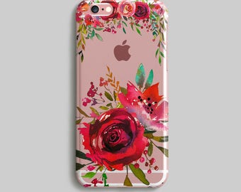 Roses iPhone 7 Case, Floral iPhone 6 Plus Case, Watercolor iPhone 5S Case, Gift for Mother, Clear iPhone 6 Case, Silicone iPhone Case