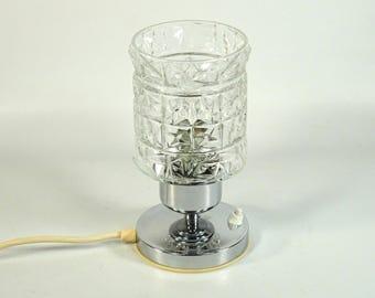 Vintage Desk Lamp / Vintage Table Lamp / Chrome / Glass Table Sconce / 70s Home Decor / Bedside Lamp / Vintage Light / Pedestal Lamp