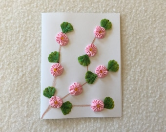 Greeting Card with a Pink Flower Vine Design