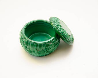 Art Deco Curt Schlevogt green Malachite glass lidded box, Vintage Old Jewelry Box Keepsake Box -  Jewelry Box Trinket Box