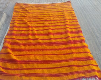 Orange Striped Moroccan Rug, Handmade Wool Carpet,Antique Kilim Rug, Berber Kilim, Moroccan Kilim,  Beni Ouarain  Kilim, Azilal Kilim Rug.