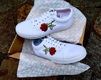 SALE!!! All White Roses Custom Vans