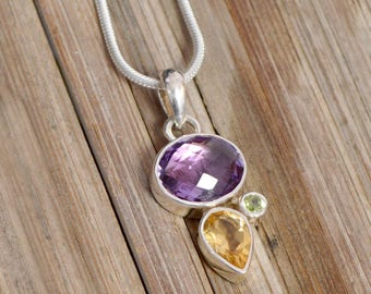 Amethyst, Citrine and Peridot Gemstone 925 sterling silver Necklace Pendant jewelry with 2 mm silver chain