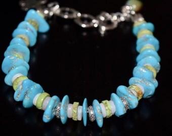 Sleeping Beauty Turquoise, Gaspeite, Australian Opal Bracelet~ Wearable Art Jewelry~Turquoise Bracelets