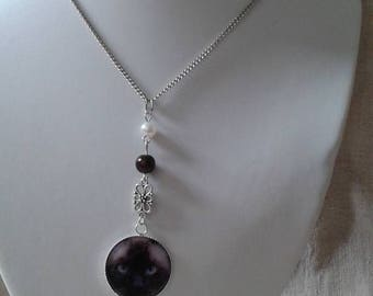 """""""Siamese cat cabochon and beads"""" necklace"""
