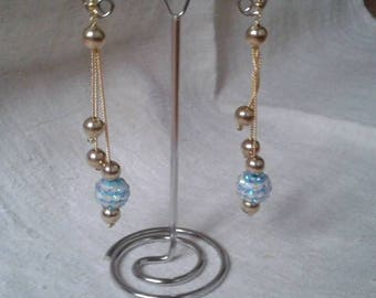Blue and gold Pearl Earrings