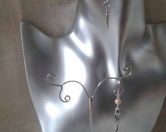 "Earrings ""leaf and beads oranges"""