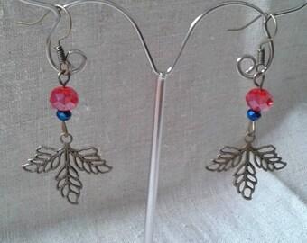 Pearl and bronze leaf earrings