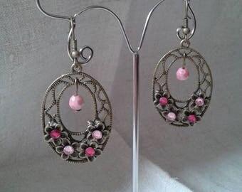 pretty pink floral earrings