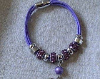 "Bracelet ""pandoras mauves and Butterfly beads"""
