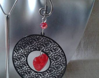 Black Red Heart Earrings
