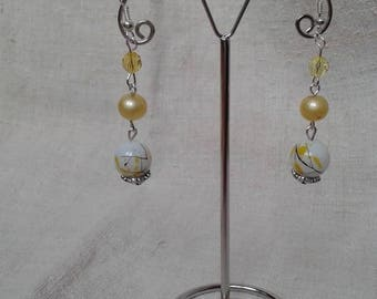 """three shades of yellow"" earrings"