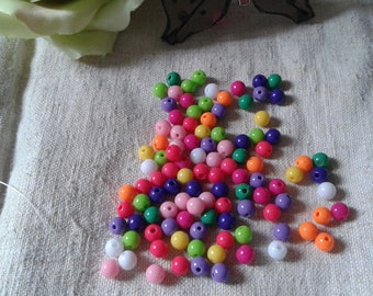 set of 50 multicolored opaque faceted beads