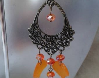 """connector and orange leaves"" earrings"