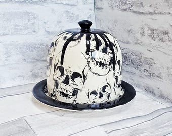Skull Cheese Dome, Hand Painted Skulls, Unique Food Container, Gothic Ceramics, Kitchen Gift, House Warming Present, Weird and Wonderful