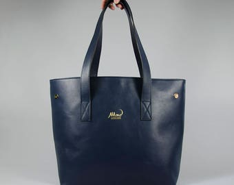 Rectangular-shopper Italian leather with textile lining and side clips