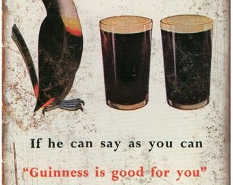 """Guinness Beer Toucan Vintage Breweriana Ad 10"""" x 7"""" Reproduction Metal Sign E20"""