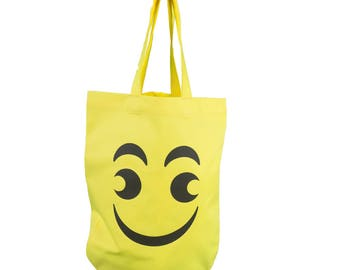Bag Shoppingbag cotton shoulder bag yellow smilie 'smiling face', Emojivariante