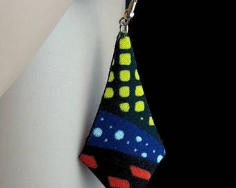earring with yellow, blue and black fabric