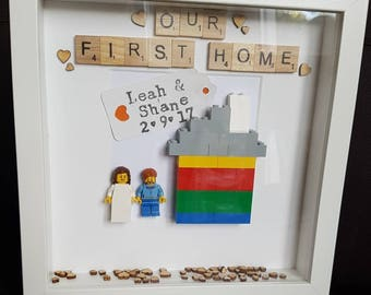 New Home//Our Home//House Warming//Minifigures//Family//Family Home//Lego House//Personalise//Lego//Gift//Wedding//Shadow Box Frame