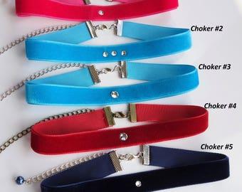 Swarovski Crystals Velvet Chokers Blue Velvet Choker Plain Velvet Choker Choker for women 90s Turquoise Choker Navy choker Aqua Choker Neckl