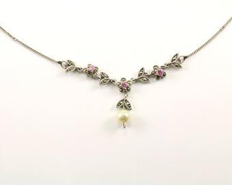 Vintage Floral Design Marcasite Necklace 925 Sterling NC 866
