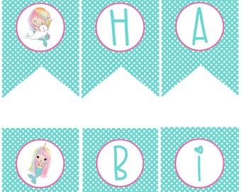 Mermaid Narwhal Birthday Party Happy Birthday Banner Printable Rainbow Hair Birthday Pool Party Splash Pad