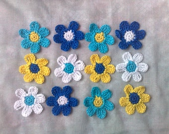 Colorful crochet flowers, 12 crochet stick-on colours turquoise, blue, yellow and white